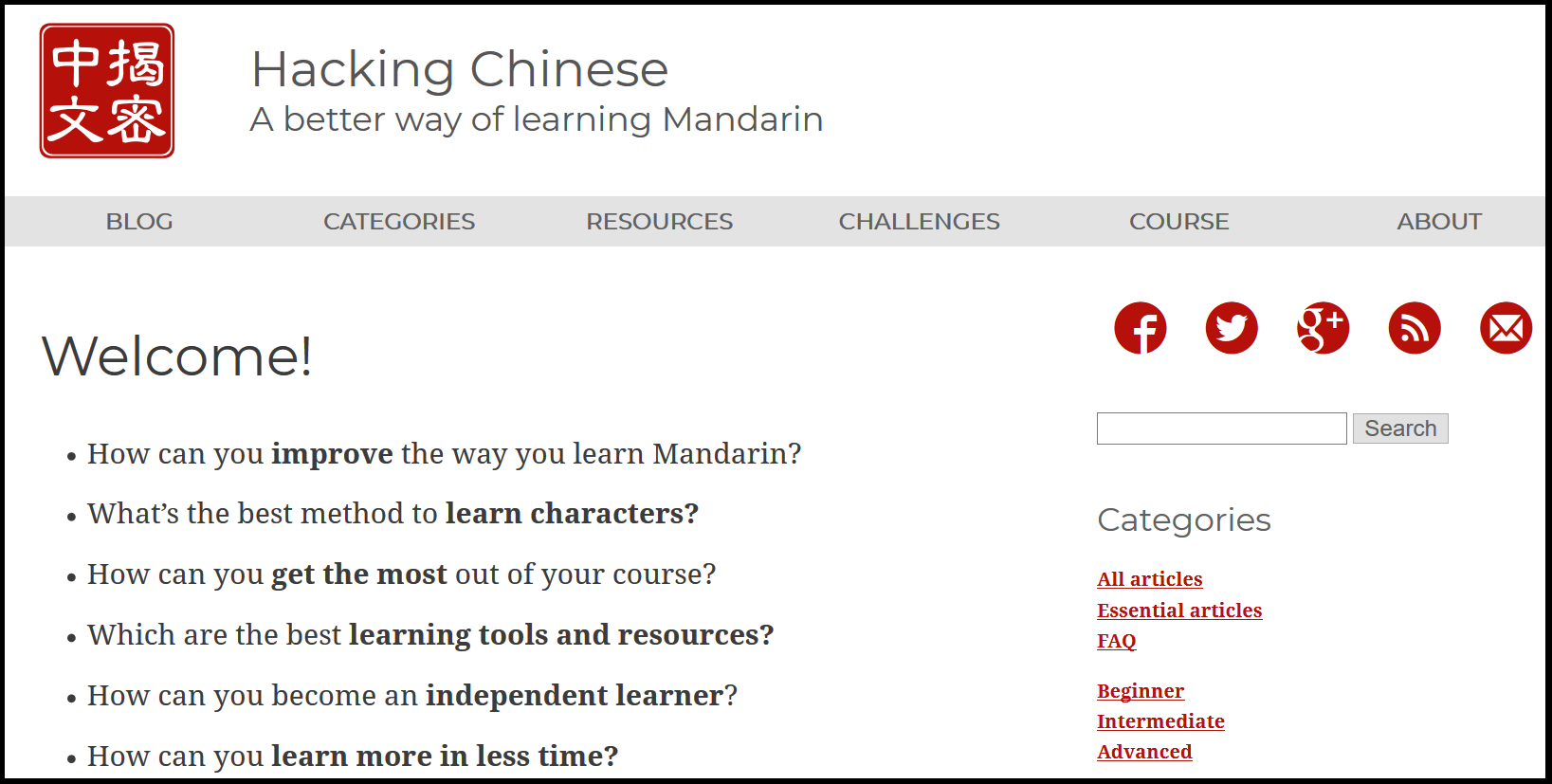Hacking Chinese blog by Olle Linge from Sweden