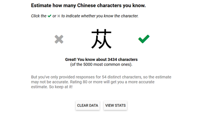 Wordswing test Chinese characters