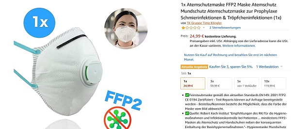 Amazon product information for face masks. Prices are rising.