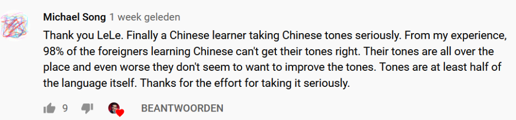 "YouTube comment: ""98 % of the foreigners learning Chinese can't get their tones right"""