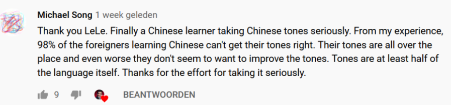 """YouTube comment: """"98 % of the foreigners learning Chinese can't get their tones right"""""""