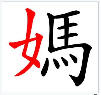 "Chinese character ""ma"" with the radical in highlighted in red"