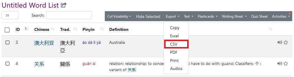 Export the vocabulary list as a CSV-file with the Vocabulary List Generator